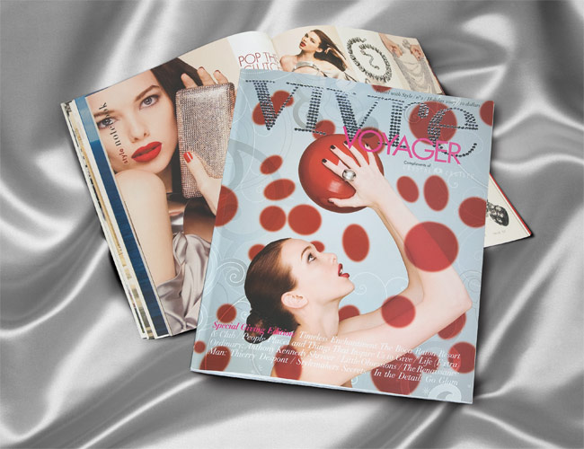 Magazines composited on silver cloth